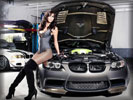 BMW, Gray, Cars & Girls, Tuning, Boots, Fishnets, High Heels