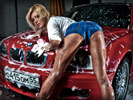 Red BMW E46 M3, Cars & Girls, Car Wash