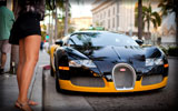 Bugatti Veyron, Black & Orange, Cars & Girls