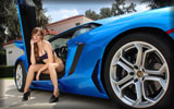 Lamborghini Aventador LP700-4, Blue, Cars & Girls, Bikini