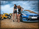 Nissan GT-R, Blue Chrome, Tuning, Cars & Girls, Feet, Motorbike