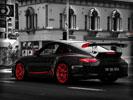 Black Porsche 997 GT3 RS, Tuning, Red Rims