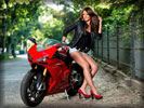 Red Ducati 1098s, Bikes & Girls, Feet, Legs, High Heels
