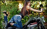 Harley-Davidson, Asian Girl, Bikes & Girls, High Heels, Jeans