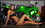 Kawasaki Ninja ZX-14R, Green, Bikes & Girls, Feet, High Heels