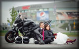 Black Kawasaki Z750, Wedding Couple